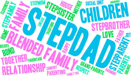 Stepdad word cloud on a white background.