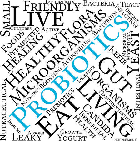 living organisms: Probiotics word cloud on a white background.