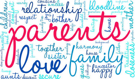 Parents word cloud on a white background. Stock Vector - 70391729