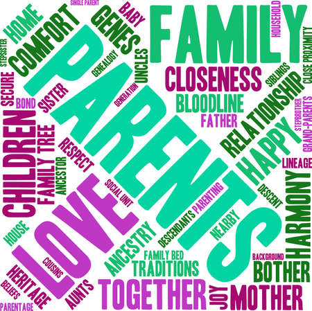 Parents word cloud on a white background. Stock Vector - 70391764