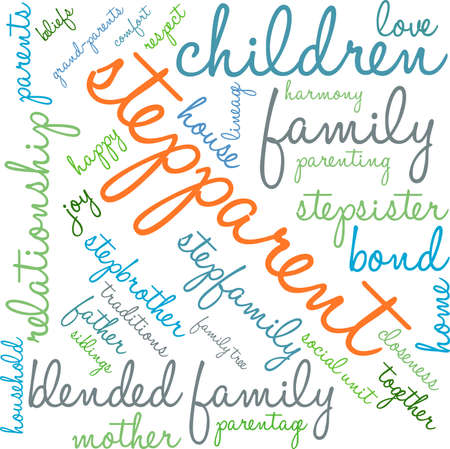 Stepparent word cloud on a white background. Vettoriali