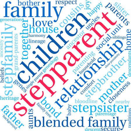 parentage: Stepparent word cloud on a white background. Illustration