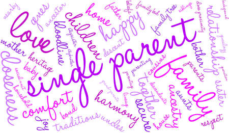 Single Parent word cloud on a white background.
