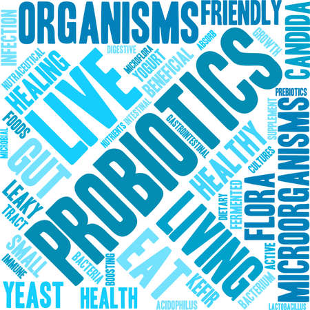 intestinal flora: Probiotics word cloud on a white background.