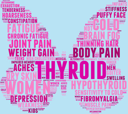 adolescent: Thyroid word cloud on a pastel background. Illustration