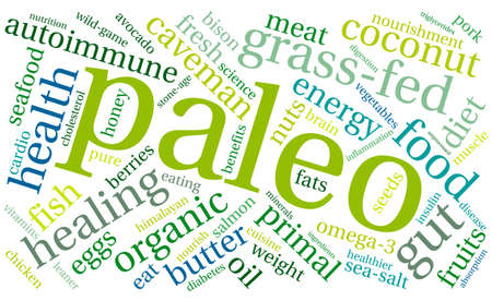 diabetes food: Paleo word cloud on a white background.