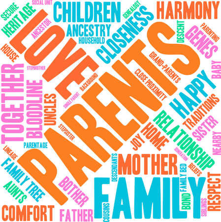 Parents word cloud on a white background.