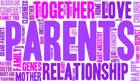 Los padres nube de palabras sobre un fondo blanco.