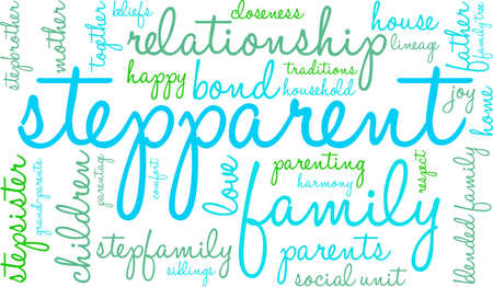 Stepparent word cloud on a white background. Ilustração