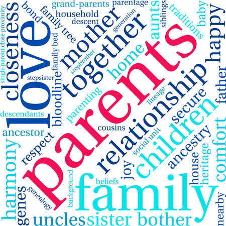 Parents word cloud on a white background. Stock Vector - 70904214