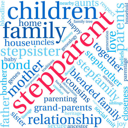 Stepparent word cloud on a white background. Vectores