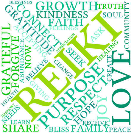Reiki word cloud on a white background.