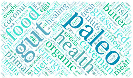 healthier: Paleo word cloud on a white background.