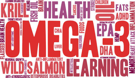 krill: Omega-3 word cloud on a white background.