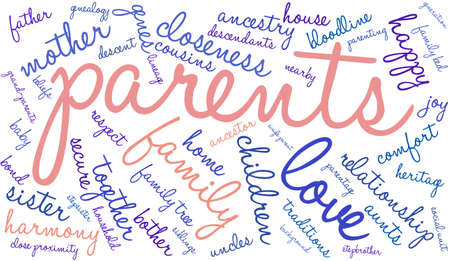 lineage: Parents word cloud on a white background.