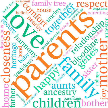 Parents word cloud on a white background. Stock Vector - 70869460