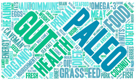 gut: Paleo word cloud on a white background.