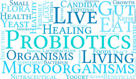 digestive: Probiotics word cloud on a white background.