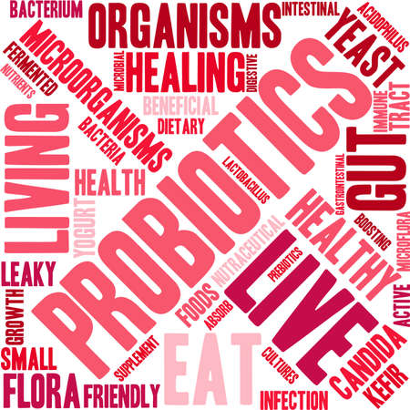 gastrointestinal tract: Probiotics word cloud on a white background.