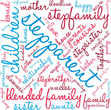 Stepparent word cloud on a white background. Çizim