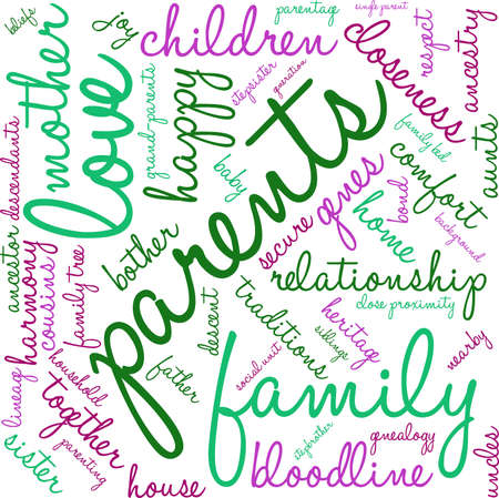 Parents word cloud on a white background. Stock Vector - 70869473