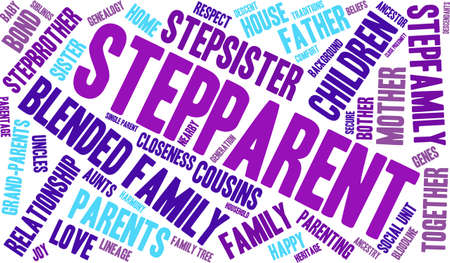 family unit: Stepparent word cloud on a white background. Illustration