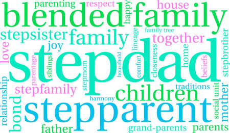 parentage: Stepdad word cloud on a white background.
