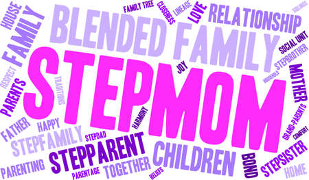 parentage: Stepmom word cloud on a white background.