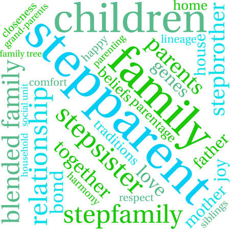 Stepparent word cloud on a white background. Illustration