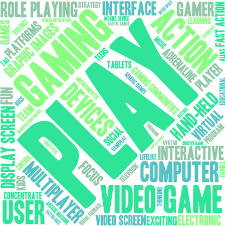 adolescent: Play word cloud on a white background.