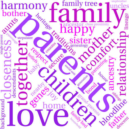 parentage: Parents word cloud on a white background.