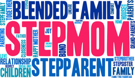 lineage: Stepmom word cloud on a white background.