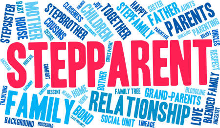 lineage: Stepparent word cloud on a white background. Illustration