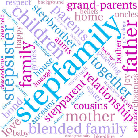 Stepfamily word coud on a white background. Stock Vector - 70869504