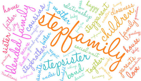 Stepfamily word coud on a white background.