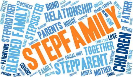 family unit: Stepfamily word coud on a white background.