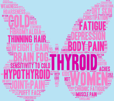 Thyroid word cloud on a pastel background. 일러스트