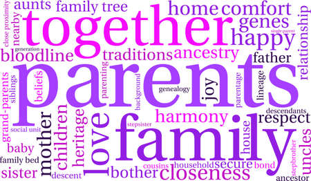 Parents word cloud on a white background. Stock Vector - 70904369