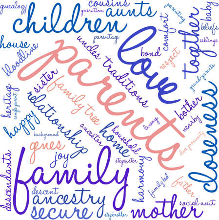 Parents word cloud on a white background. Stock Vector - 70904379