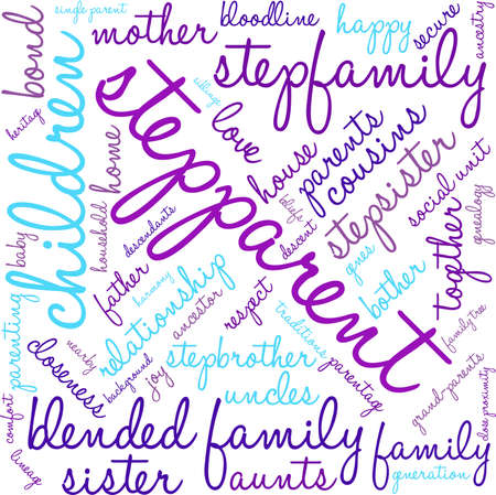 baby grand: Stepparent word cloud on a white background. Illustration
