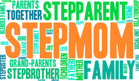 family unit: Stepmom word cloud on a white background.