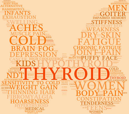 muscle gain: Thyroid word cloud on a pastel background. Illustration