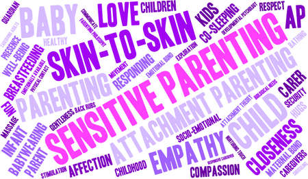 caregivers: Sensitive Parenting word cloud on a white background.