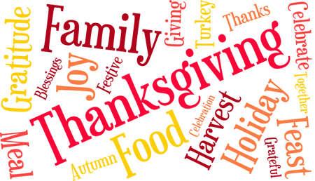Thanksgiving nuage de mot sur un fond blanc. Banque d'images - 70869556