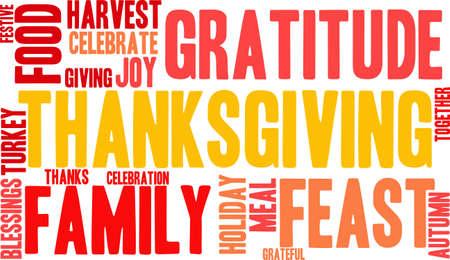 Thanksgiving nuage de mot sur un fond blanc. Banque d'images - 70868875