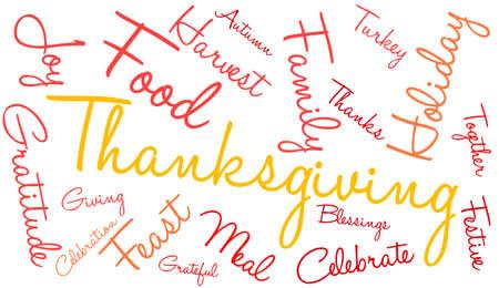 Nuage de mot de Thanksgiving sur fond blanc. Banque d'images - 70904456