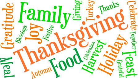 Thanksgiving nuage de mot sur un fond blanc. Banque d'images - 70869576