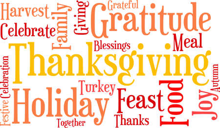 Nuage de mot de Thanksgiving sur fond blanc. Banque d'images - 70904458