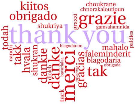 Thank You word cloud on a white background. Ilustração