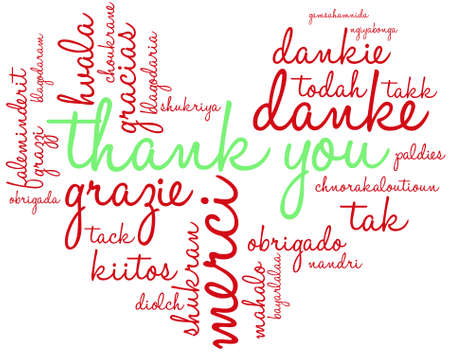 Thank You word cloud on a white background. Illustration